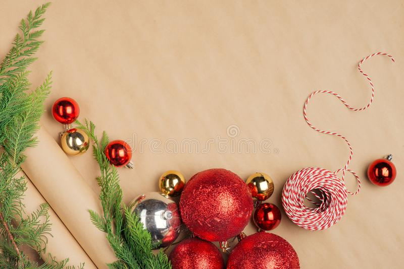Hand crafted Christmas present gifts box and tools on wooden background stock photography