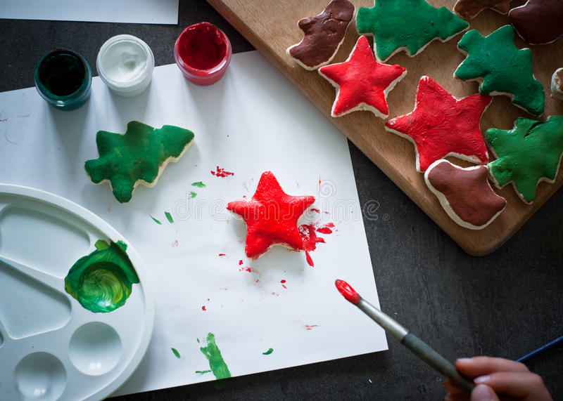 Hand crafted christmas toys. stock image