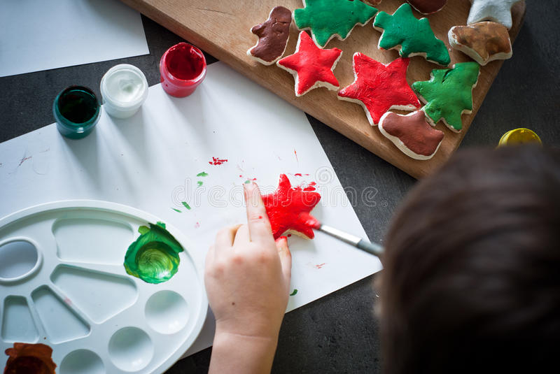Hand crafted christmas toys. stock photos