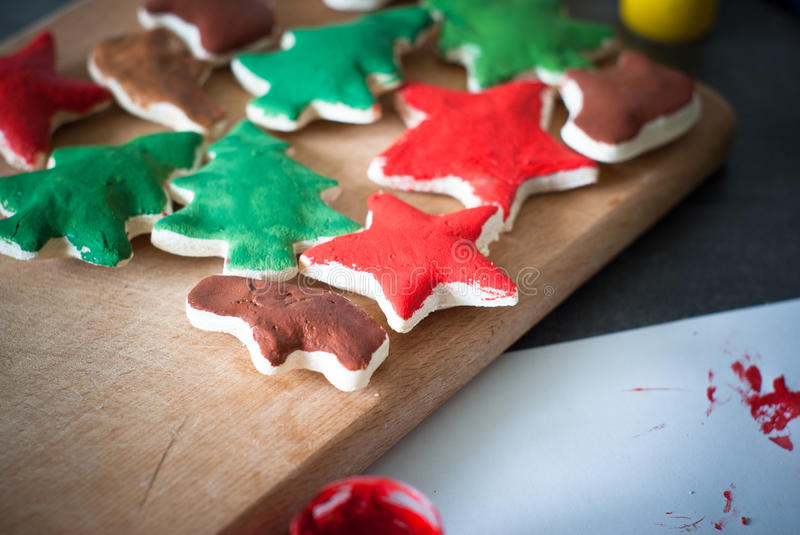 Hand crafted christmas toys. stock images