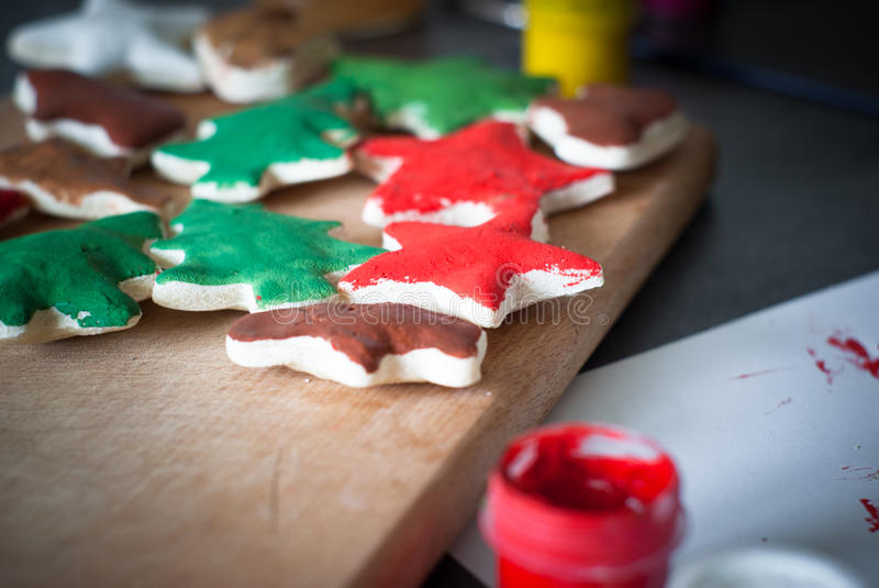 Hand crafted christmas toys. royalty free stock image