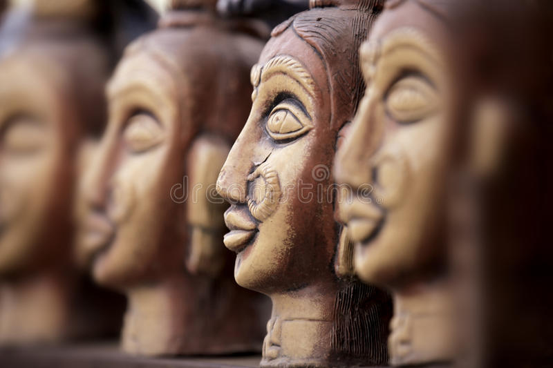 Hand crafted clay statues royalty free stock photos
