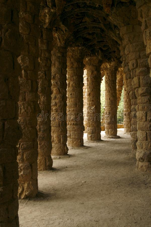 Hand-crafted columns in the Park Guell. Spain royalty free stock photos