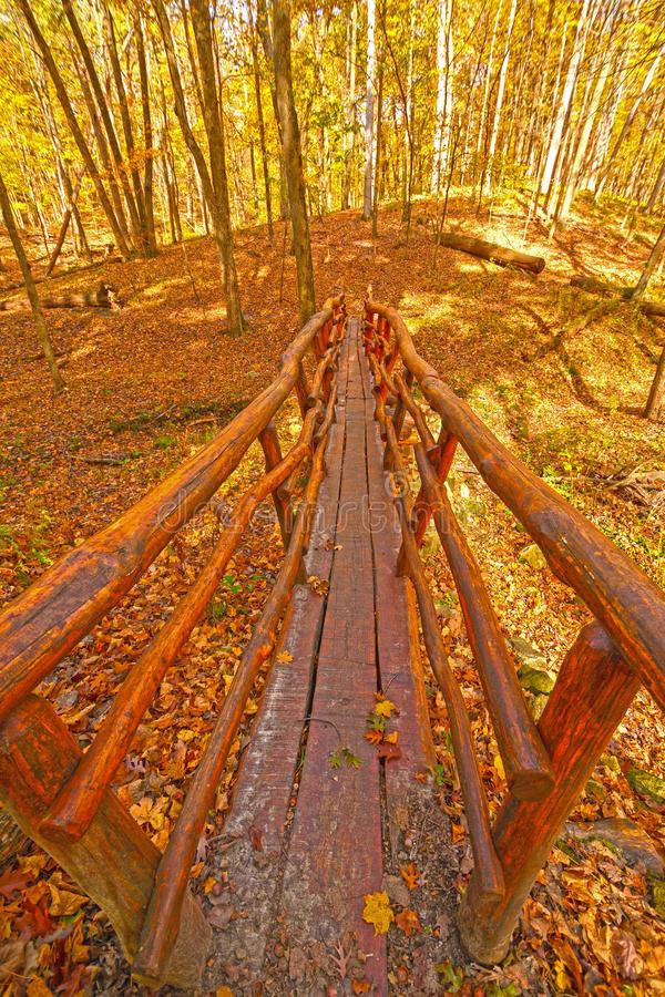 Hand Crafted Foot Bridge in the Fall Forest stock photography