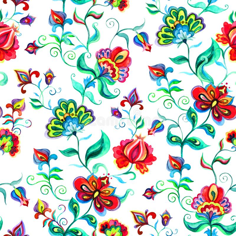 Hand crafted native motifs - seamless floral background in intricate flowers. Watercolor royalty free illustration