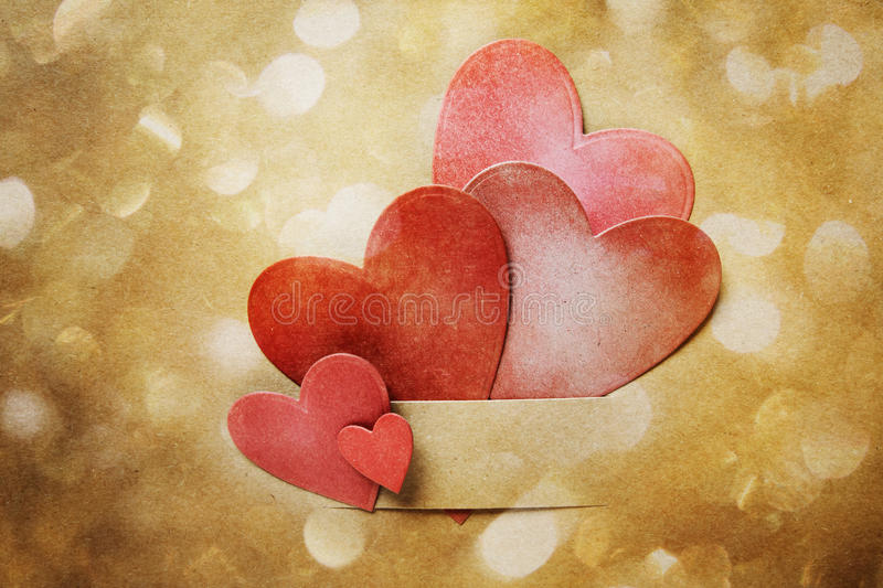Hand-crafted paper hearts and circle lights vector illustration