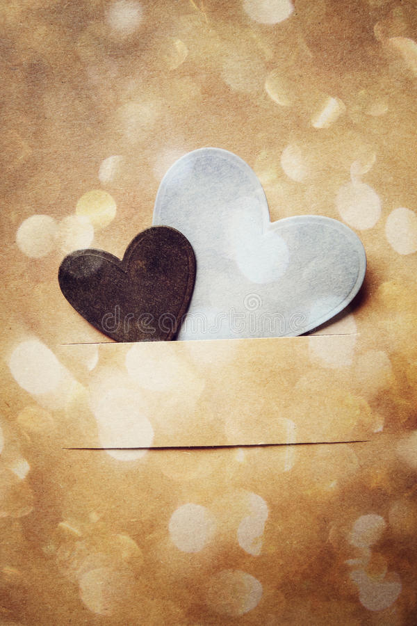 Hand crafted paper hearts and circle lights royalty free stock images