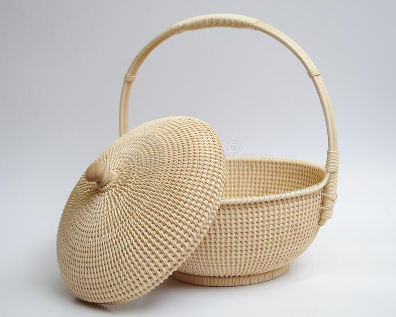 Hand crafted rattan bag. That weaved by local craftwoman from Negeri Sembilan state in Malaysia royalty free stock photo