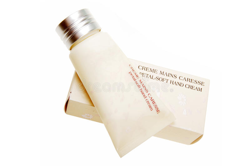 Hand cream. Petal soft hand cream with its packaging on white stock image