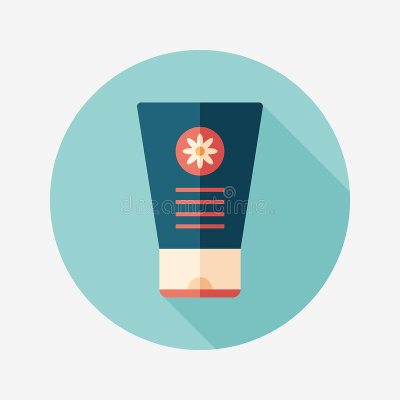 Hand cream with chamomile flat round icon with long shadows. stock illustration