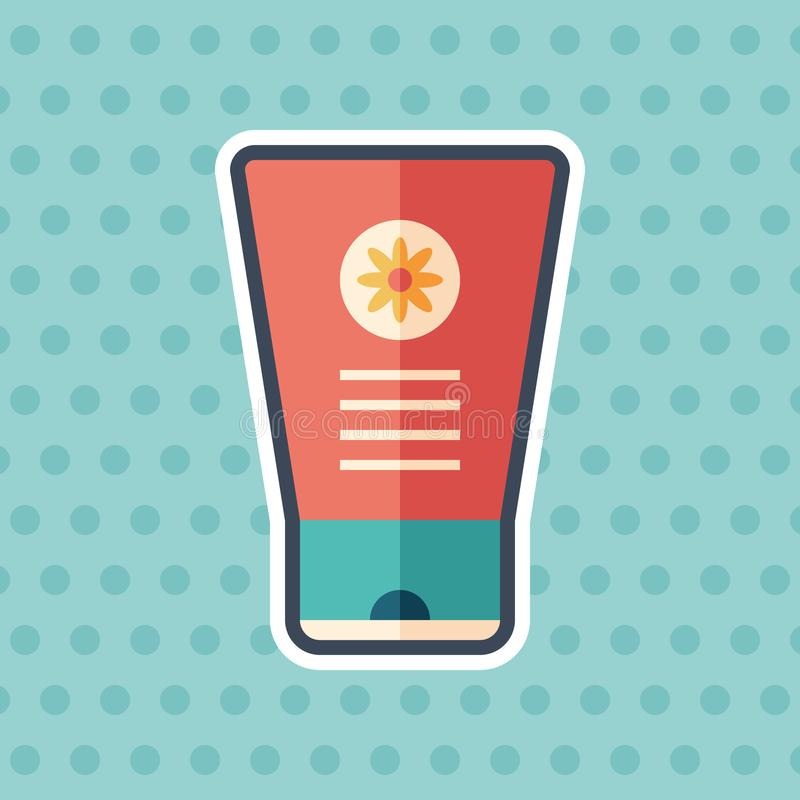 Hand cream with chamomile sticker flat icon with color background. royalty free illustration