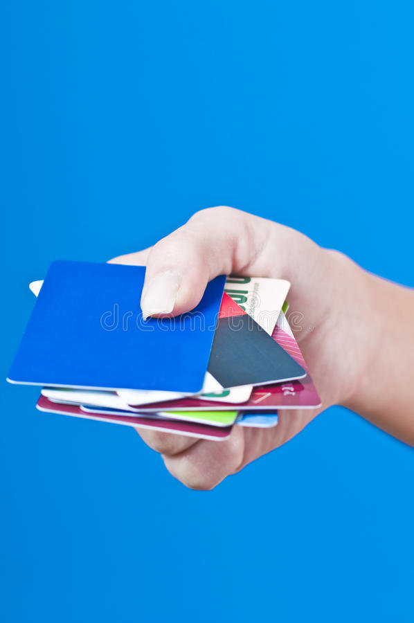 Hand With Credit Cards Stock Photography
