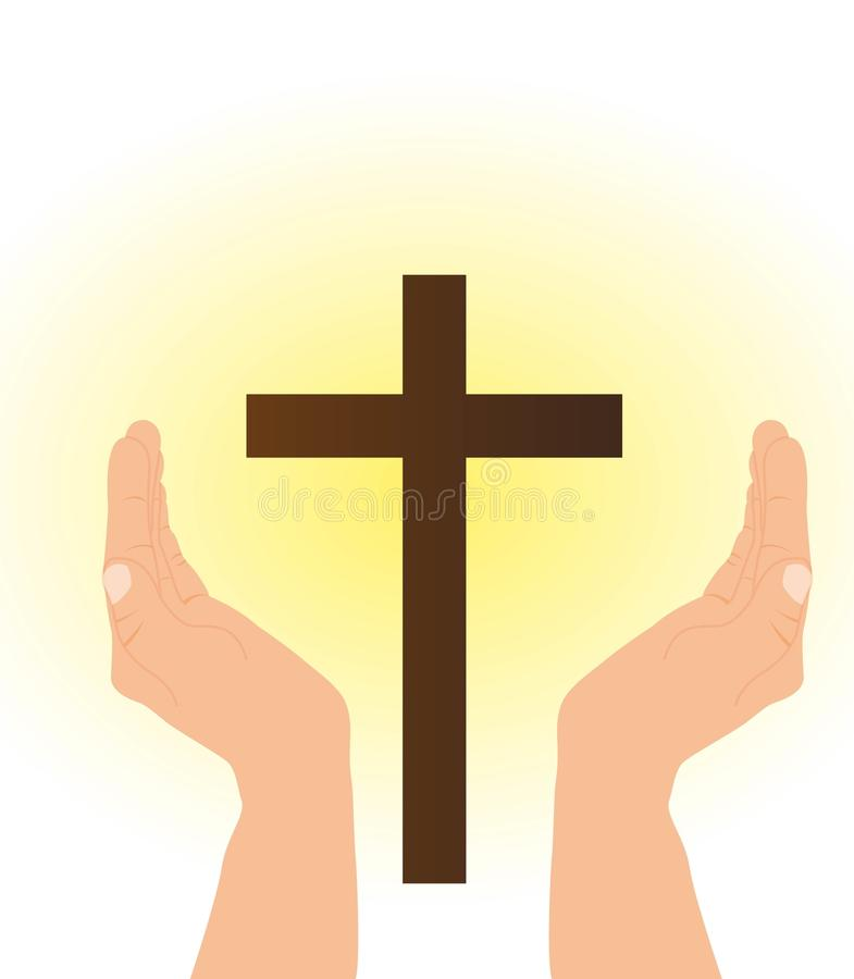 Hand and cross vector illustration