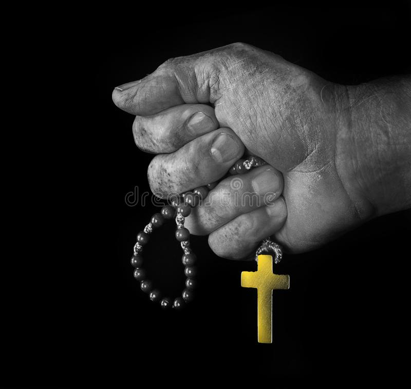 Hand with cross as a square royalty free stock photos