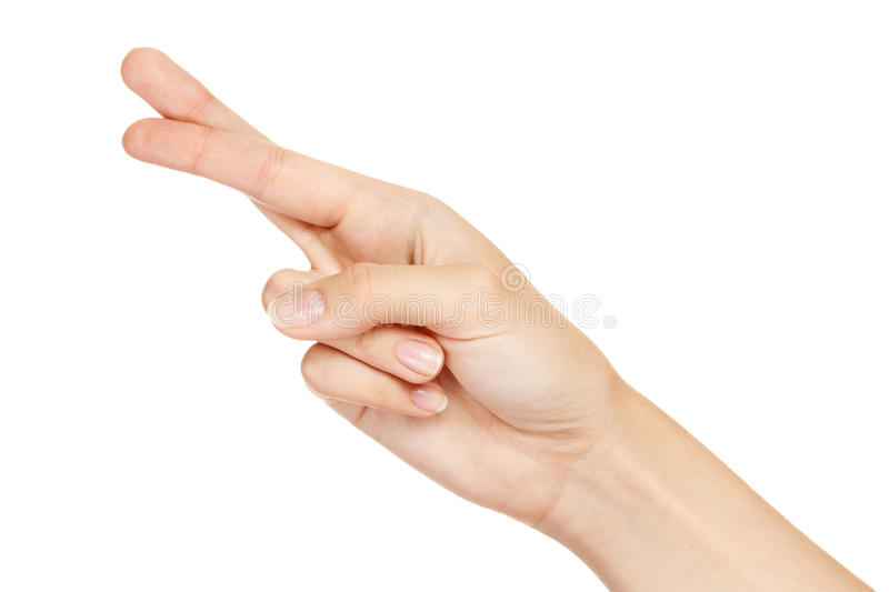 Hand With Crossed Fingers Isolated Royalty Free Stock Images