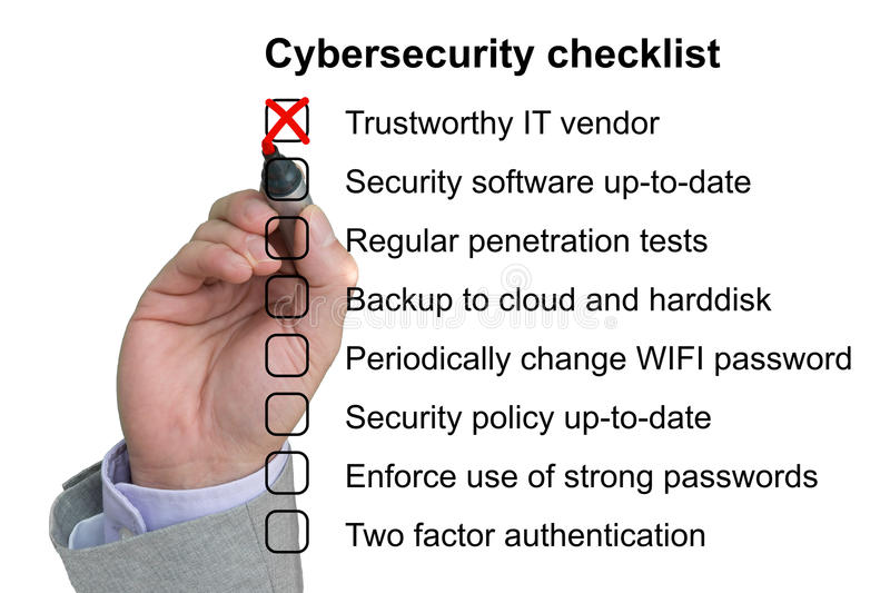 Hand crosses off the first item of a cybersecurity checklist royalty free illustration