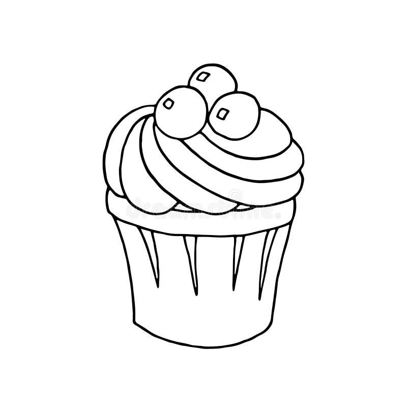 Hand cupcake op witte achtergrond wordt getrokken die Kleurende pagina's Vector illustratie stock illustratie