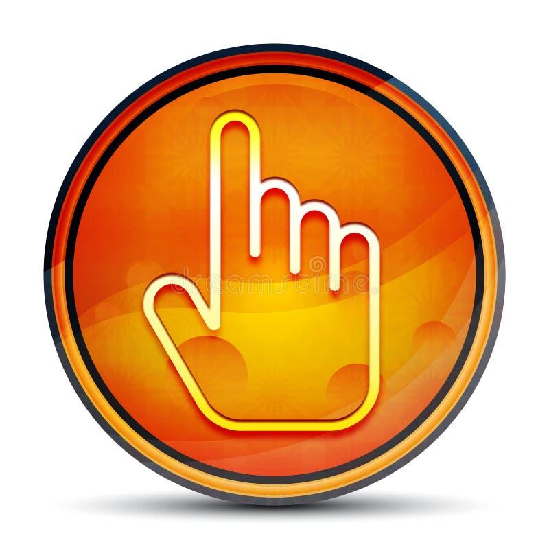 Hand cursor click icon shiny bright orange round button illustration vector illustration