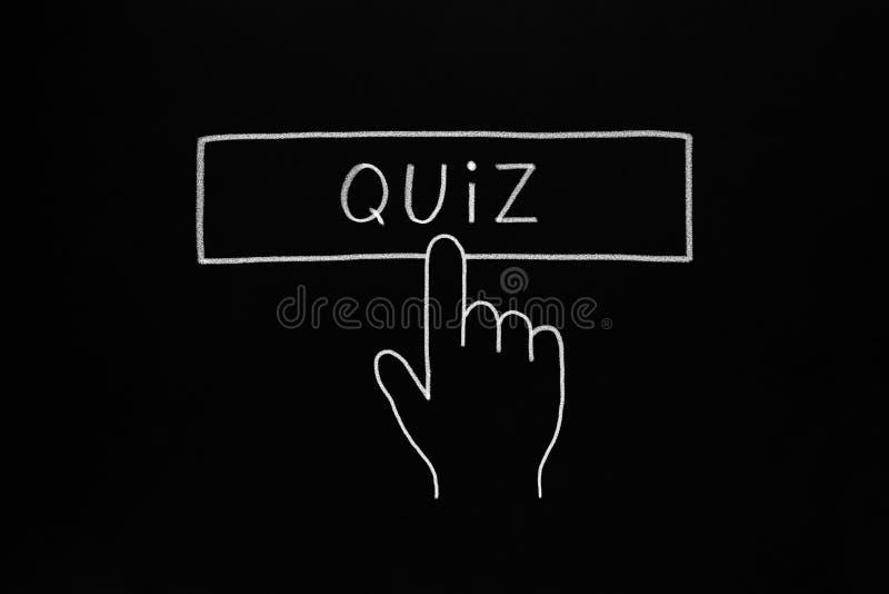 Hand Cursor Clicking Quiz Button vector illustration
