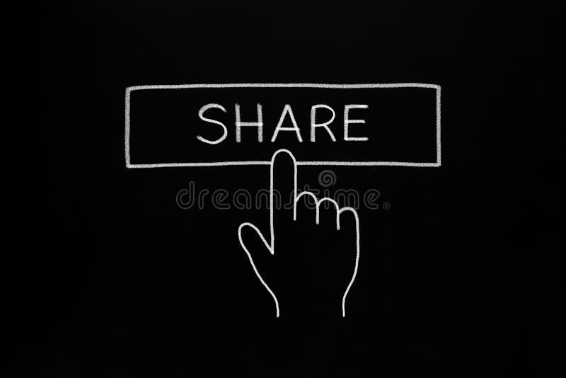 Hand Cursor Clicking Share Button stock illustration