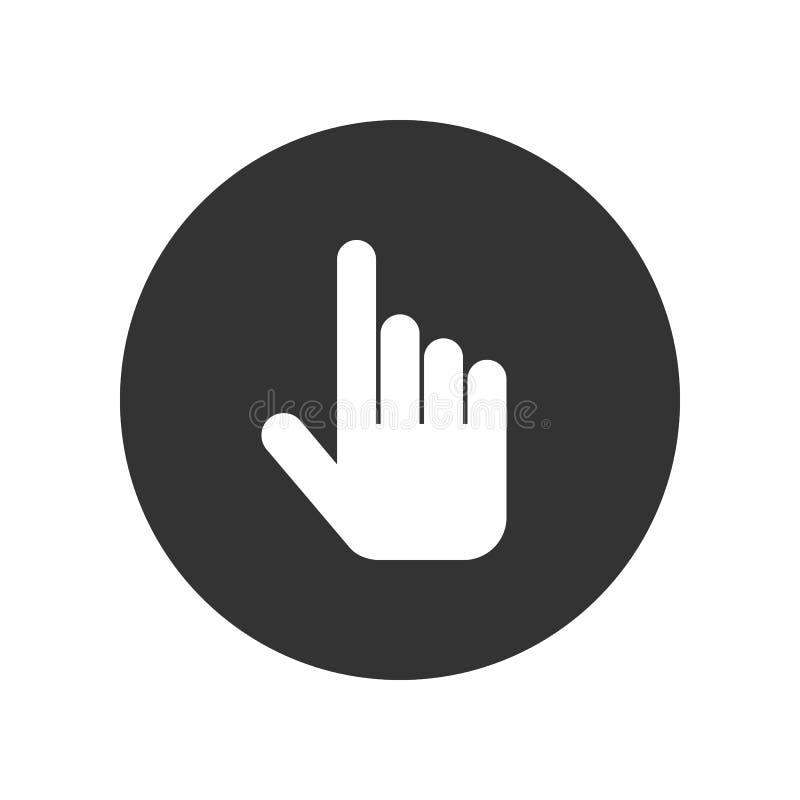Hand cursor icon, white isolated on black background, vector illustration. stock illustration