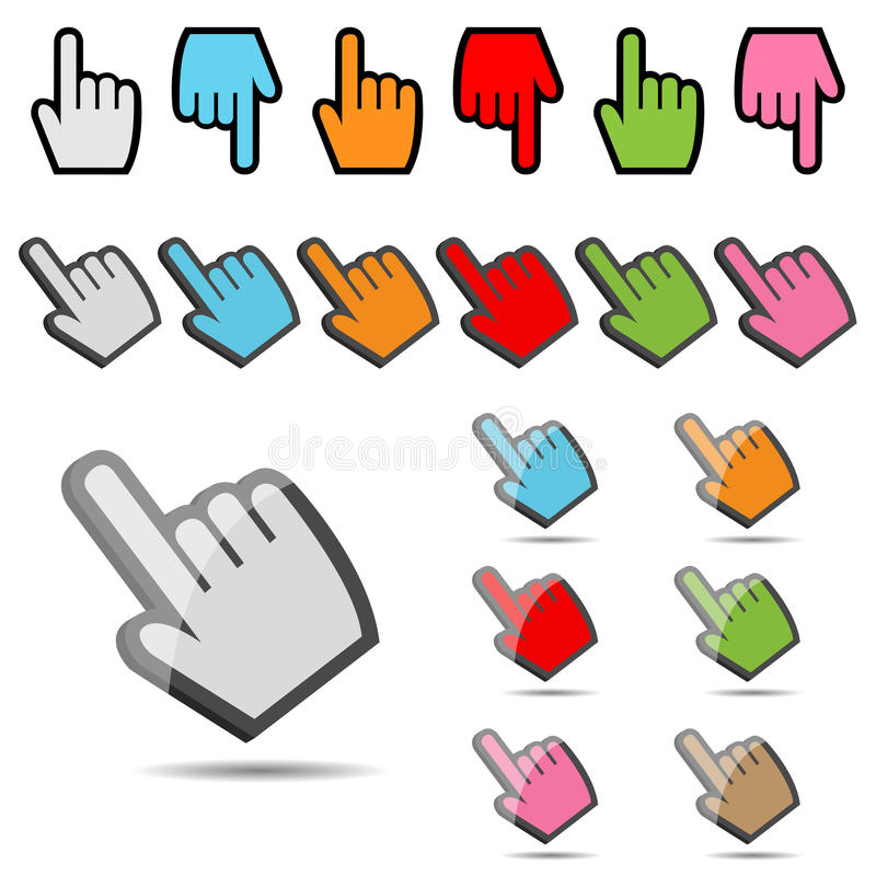 Hand cursor set stock photos