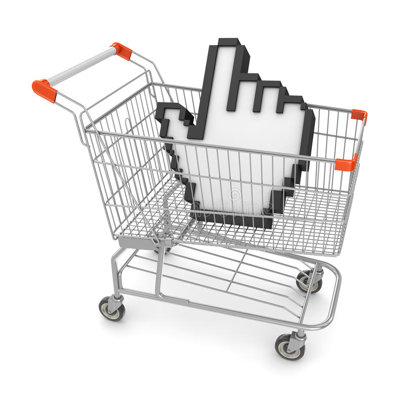 Hand Cursor in Shopping Cart royalty free illustration