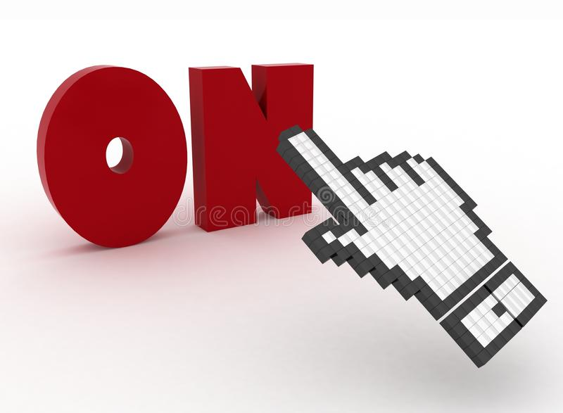 Download Hand Cursor On The Word On. Royalty Free Stock Photos - Image: 32251278