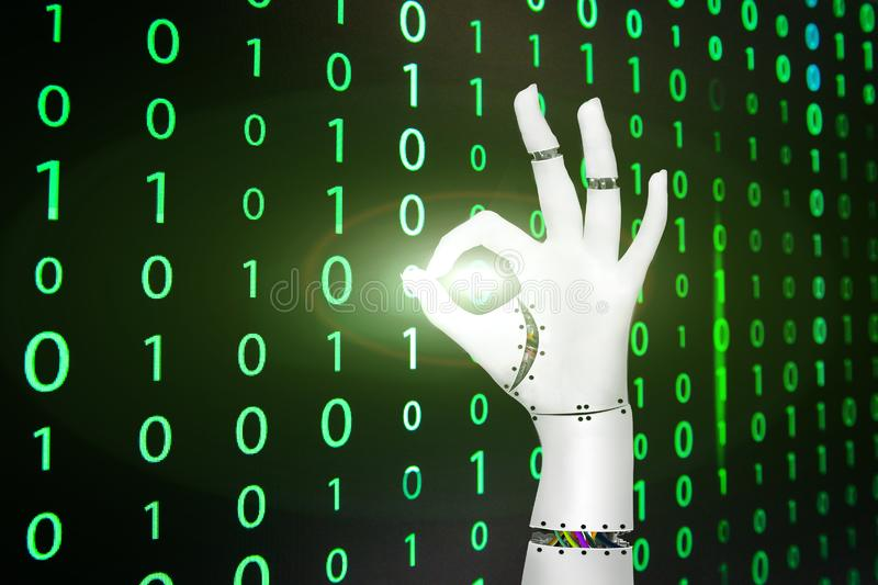 Hand of cyborg on matrix background stock photos