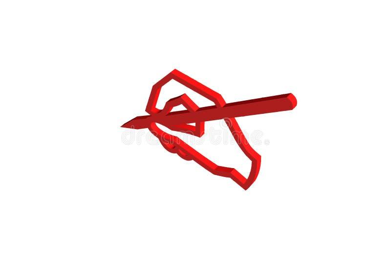 hand 3D med den wrting illustrationen för penna vektor illustrationer