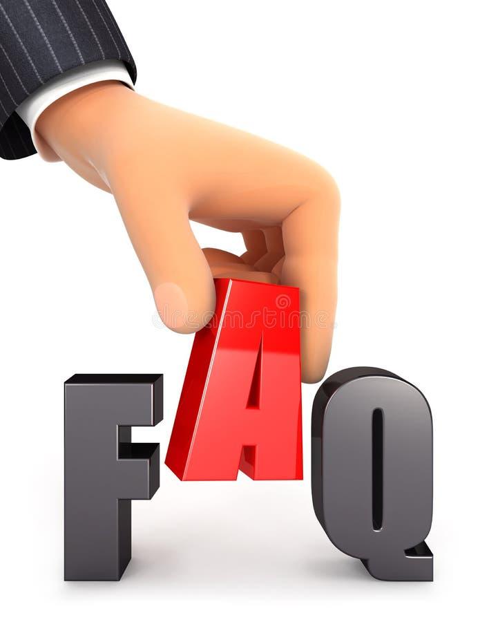 hand 3d och begrepp för ord FAQ vektor illustrationer