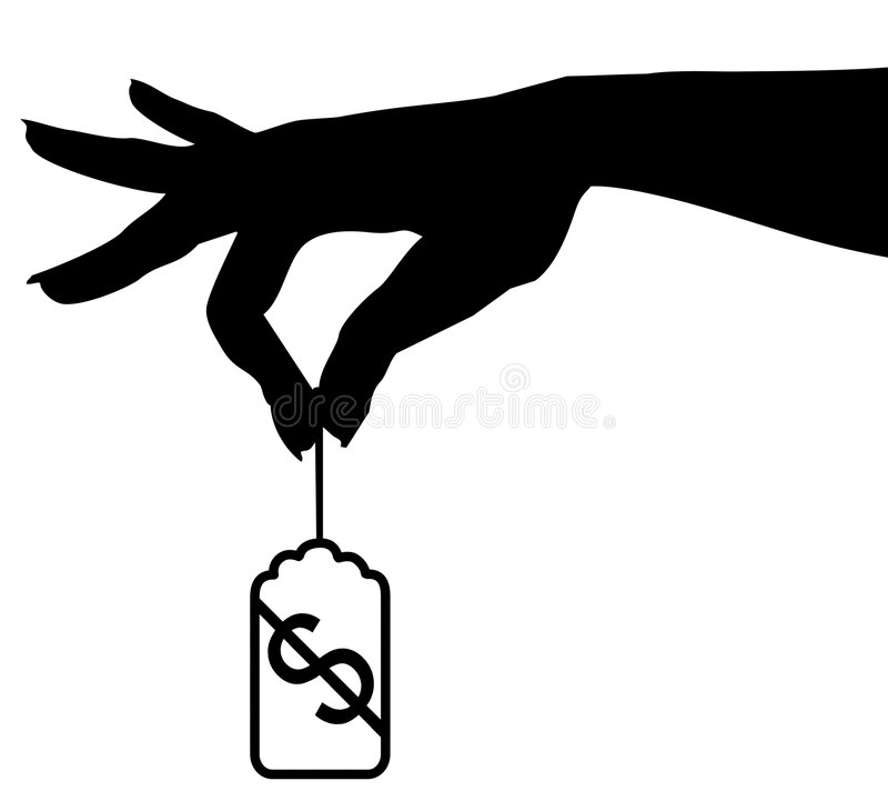 Hand Dangles Price Tag vector illustration