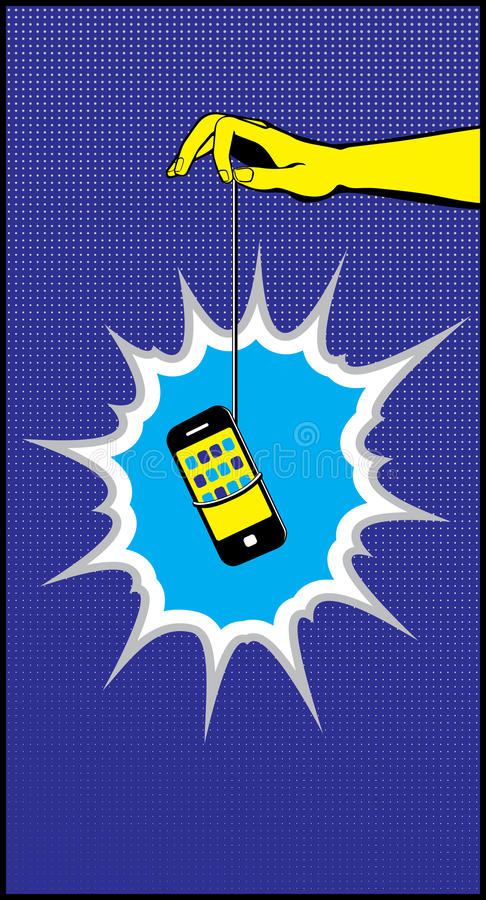 Download Hand Dangling Mobile Phone Carrot Bait Pop Art Stock Vector - Image: 33059710