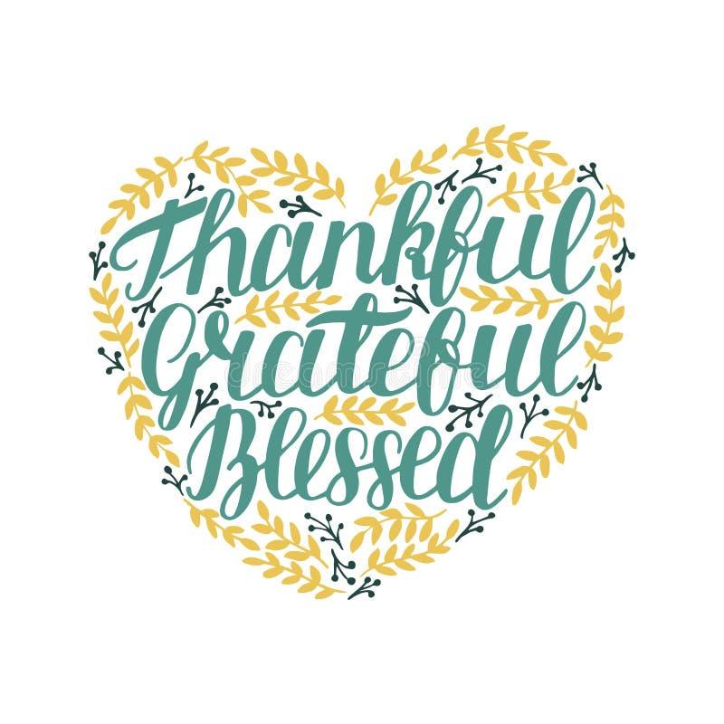 Hand Dankbaar van letters voorzien, dankbaar, heilig in vorm van hart met bladeren stock illustratie
