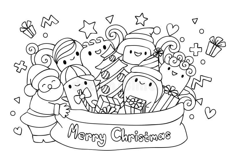 Hand darwn de Kerstman en leuke monsters in de zak voor deslignelement en kleurende boekpagina Vecotorillustratie vector illustratie