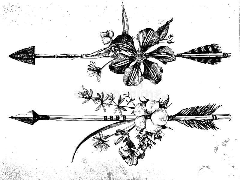 Hand darwn pijlen met bloemen en bladeren royalty-vrije illustratie