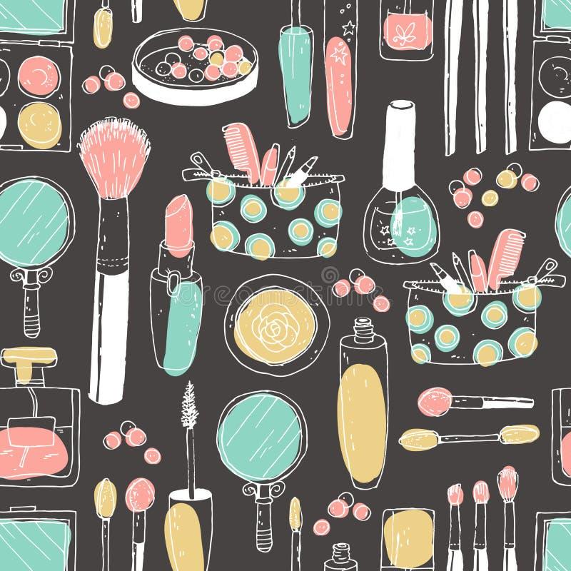 Hand darwn vector kosmetisch naadloos patroon Kosmetische hulpmiddelen en stock illustratie