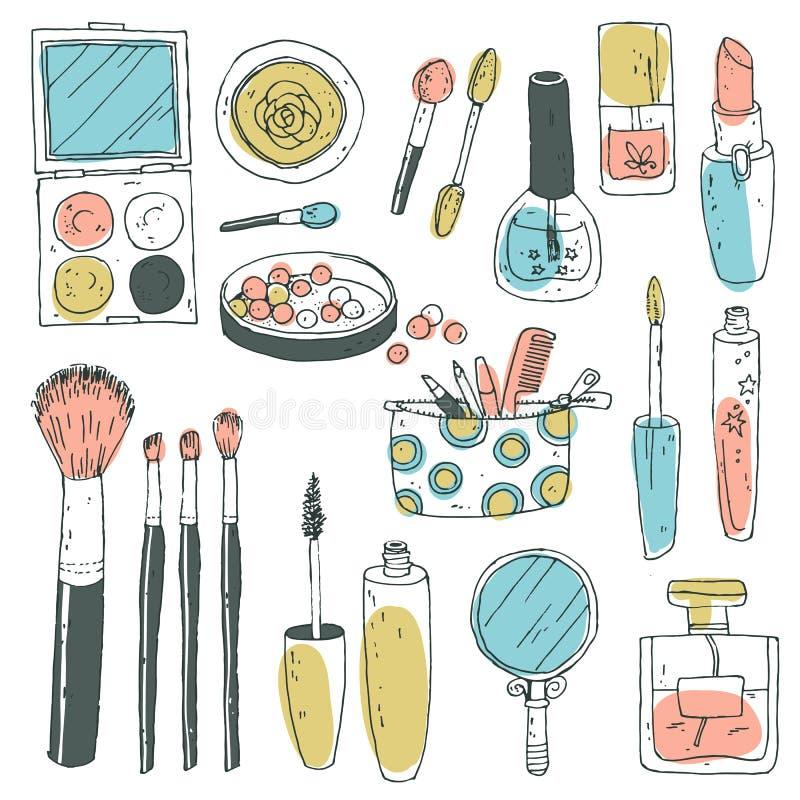 Hand darwn vector kosmetische reeks Kosmetische hulpmiddelen en producten, per royalty-vrije illustratie