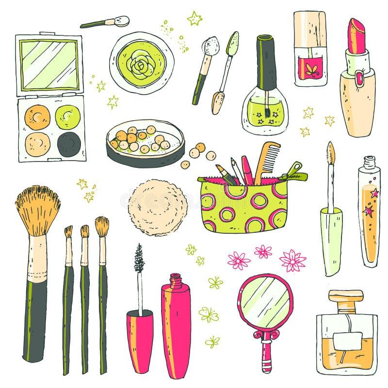 Hand darwn vector kosmetische reeks Kosmetische hulpmiddelen en producten, per stock illustratie