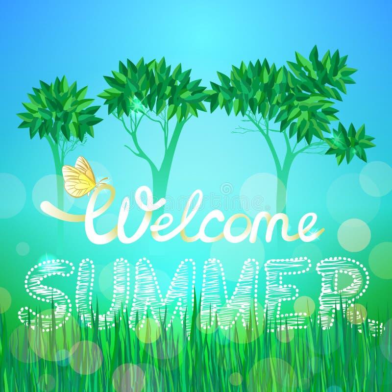 Hand de inschrijvings Welkome zomer op een achtergrond van bomen en gras wordt getrokken dat stock illustratie