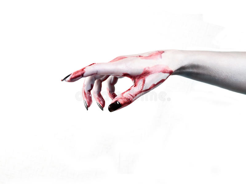 Hand dead man's show the direction. Blood on the dead man's hand royalty free stock photos