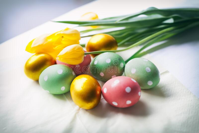 Hand decorated Easter eggs stock images