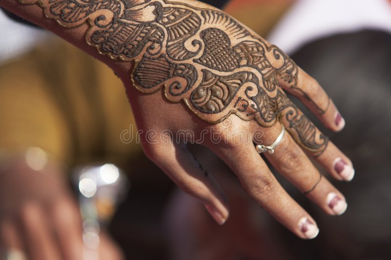 Hand Decorated with Henna stock image