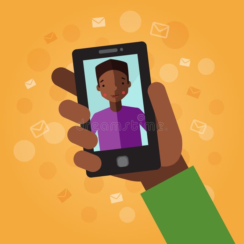 hand den smart telefonen På den orange bakgrunden med kuvert Video appell med den unga mannen (afrikanska amerikanen) vektor illustrationer
