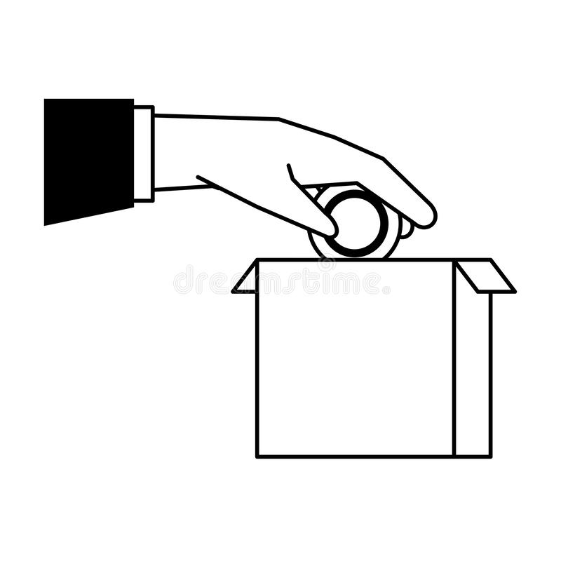 Hand depositing coin in box cartoon black and white vector illustration