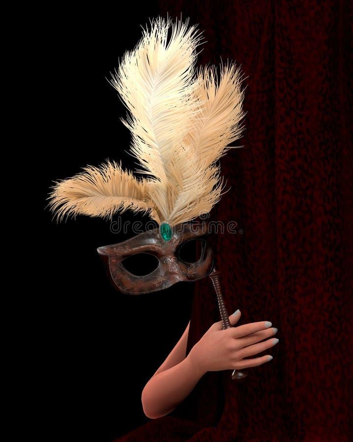 Hand der jungen Frau mit Vorhang und Karnevalsmaske vektor abbildung