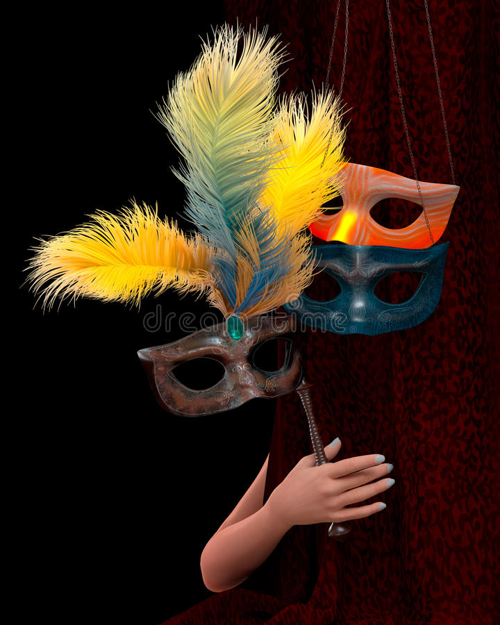Hand der jungen Frau mit Vorhang und Karnevalsmaske lizenzfreies stockfoto