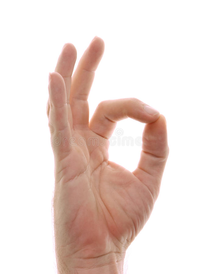 Hand in der OM-Stellunggeste auf Weiß stockfotografie