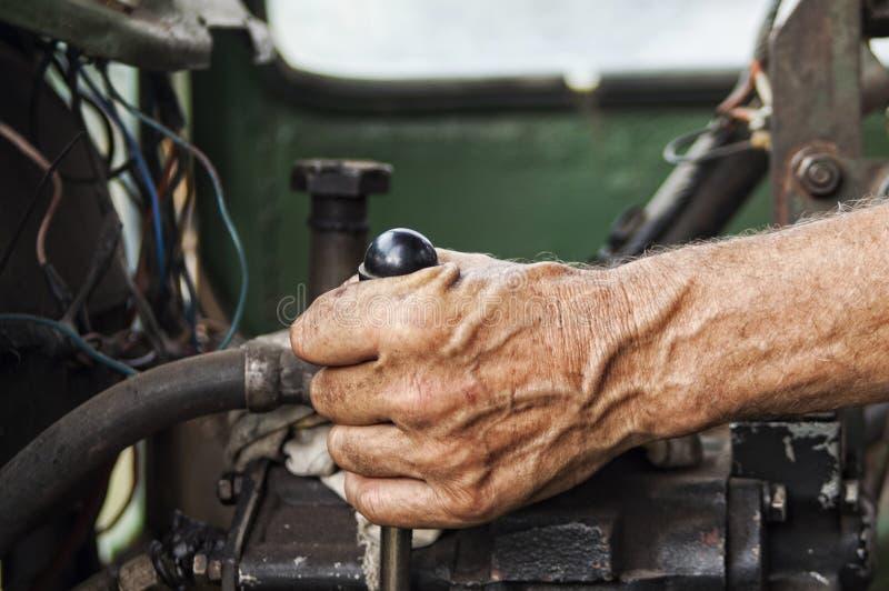 Hand des Betreibers stockfoto