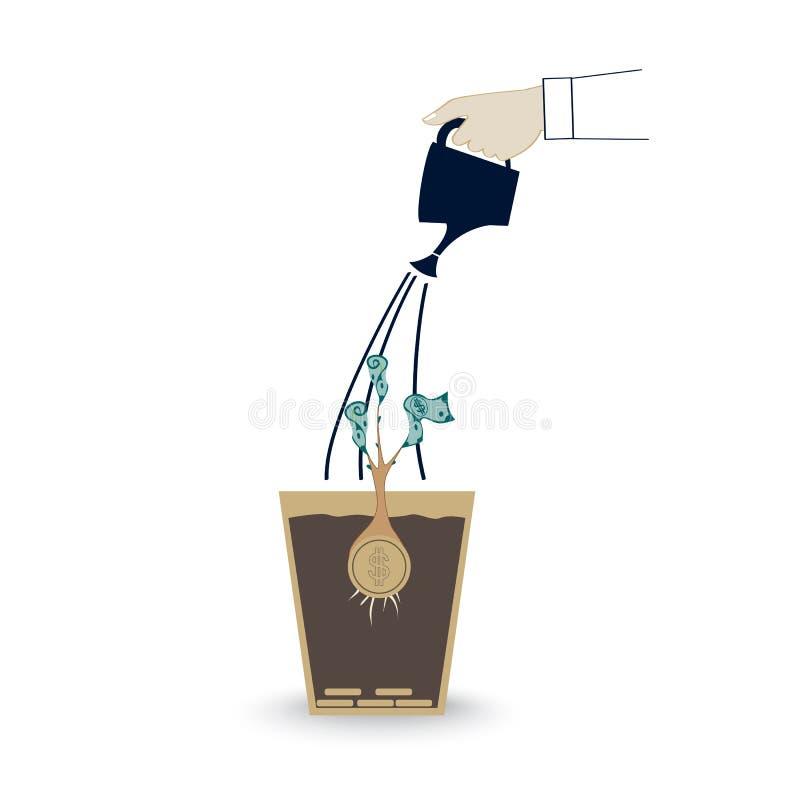 Hand des Bewässerungsgeldbaums der Geschäftsperson im Topf Verdienen des Geldes, Finanzverwaltungskonzept vektor abbildung